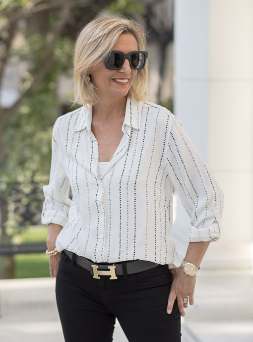 Ivory Pebble Stripe Button Front Shirt