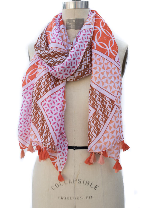 womens Ivory Pink Orange Geometric Print Scarf Shawl With Tassels