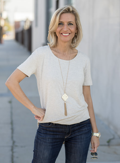 Oatmeal Round Neck Short Sleeve Top