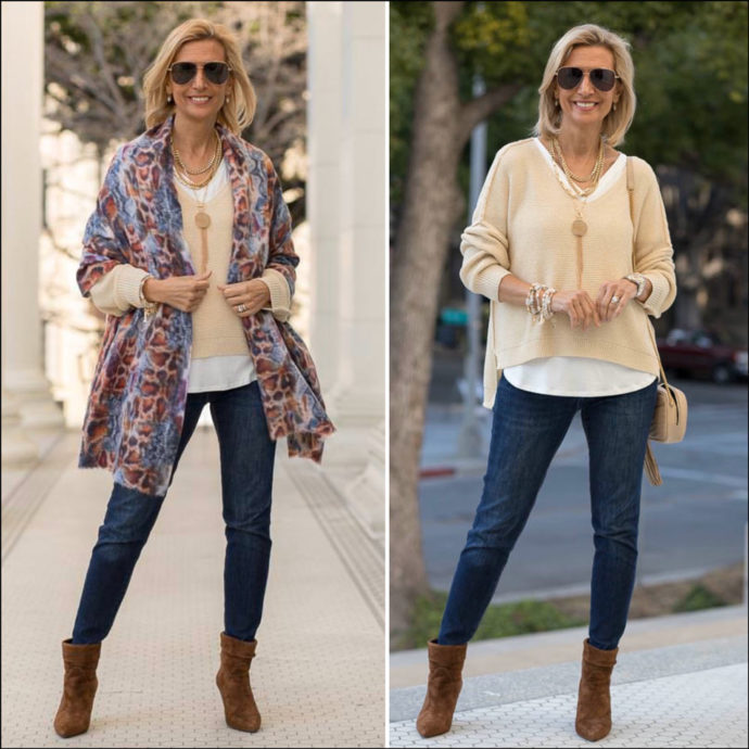 spring outfit color combo straw and denim