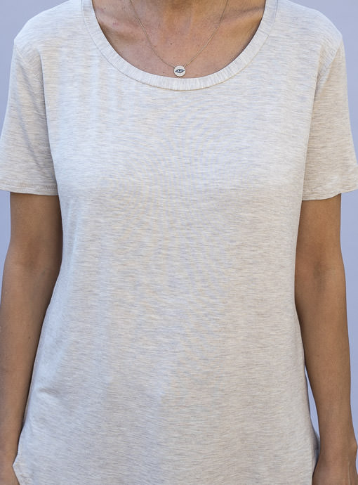 Oatmeal Round Neck Short Sleeve Top for women