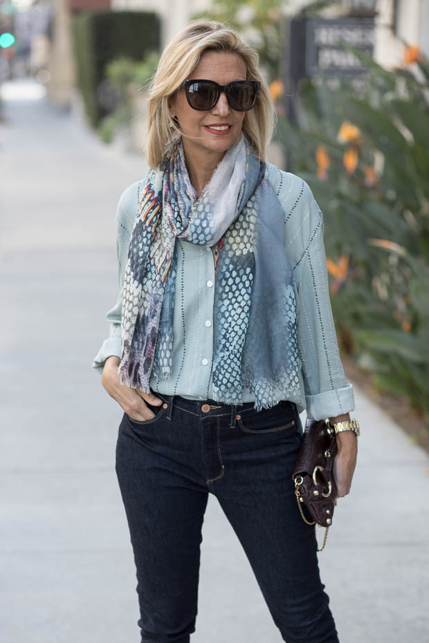 Sage Stripe Button Front Short for women with print scarf