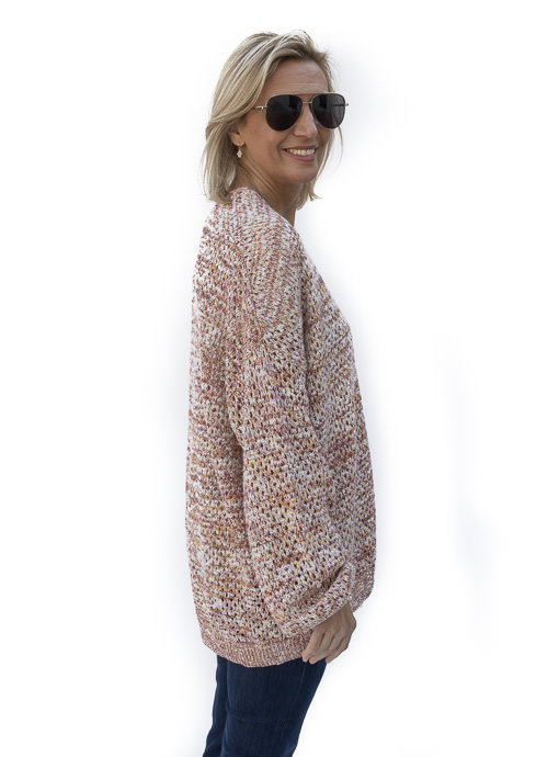 Multi Color Yarn Open Weave Cardigan