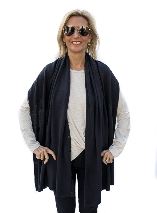 Black Pull On Poncho With Buttons