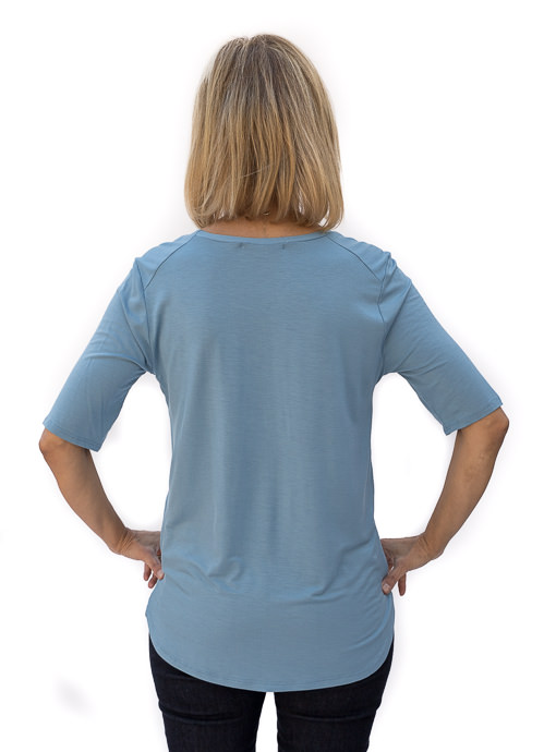 Blue Round Neck Elbow Length Top