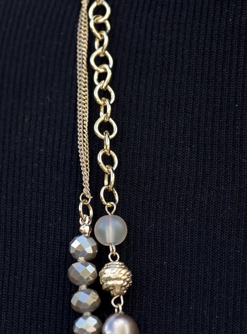 Gray And Gold Bead Necklace Set