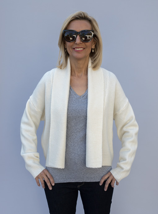 Ivory Fold Back Collar Short Cardigan