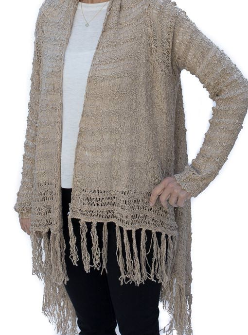 Jute Textured Crochet Knit Cardigan With Fringe