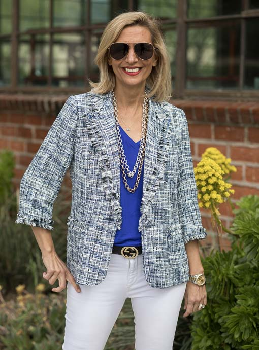 one button blazer for women in a marine blue boucle