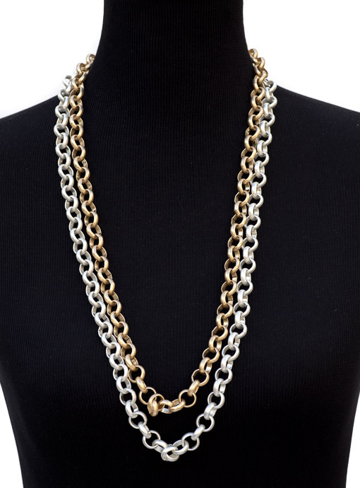 Matte Gold And Silver Chain Link Necklace Set