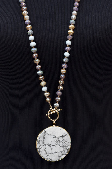 Pastel Iridescent Bead Necklace With Marbleized Pendant