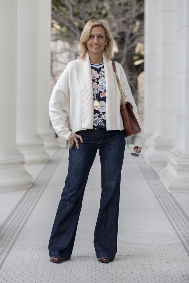 mixing ivory and navy with some bold color and patterns for todays fashion style feature outfit