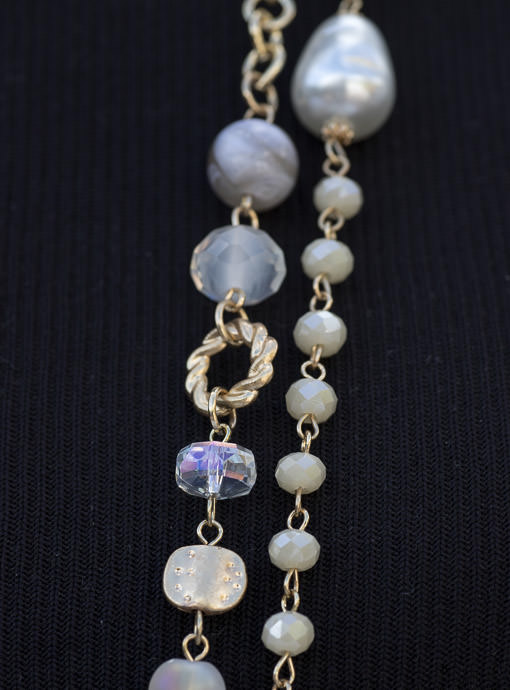 faux pearl and gold tone necklace set for women