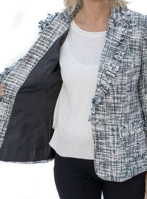 Womens Black and white classic boucle jacket