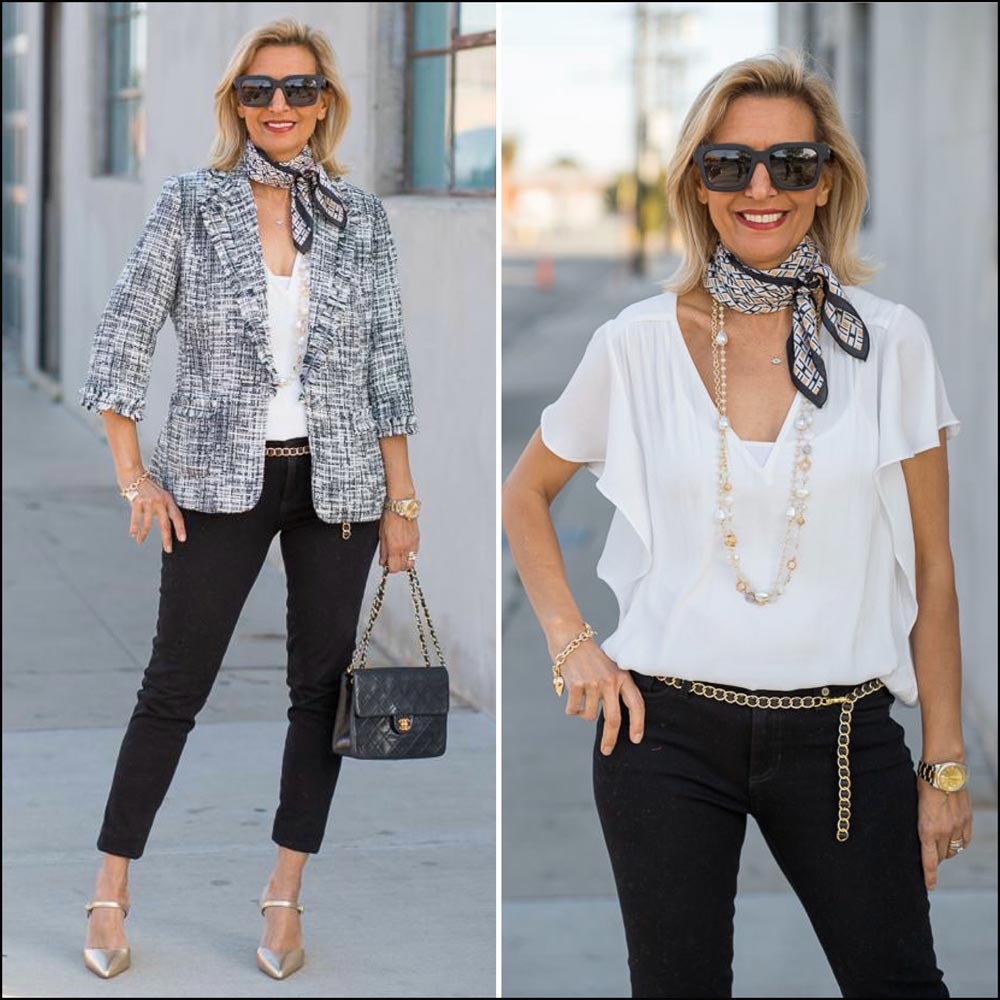 beautiful womens boucle jacket in black and white styled for spring