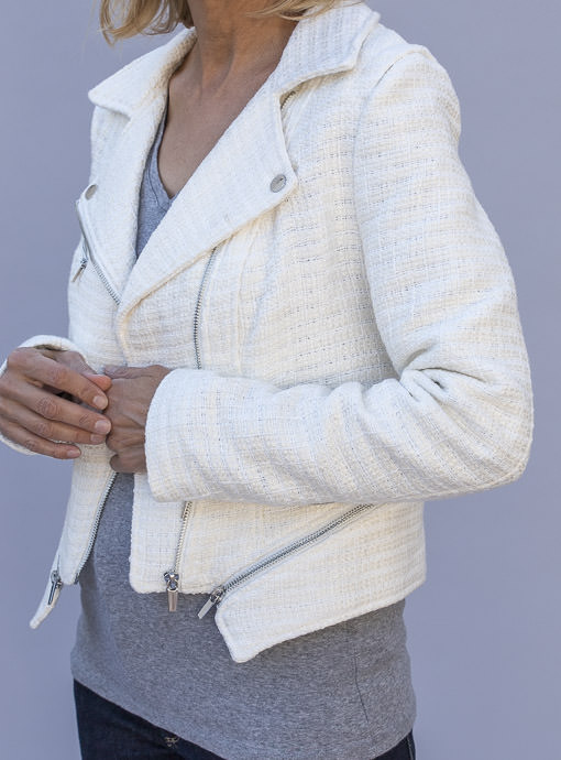 cropped ivory boucle moto jacket with zippers for women