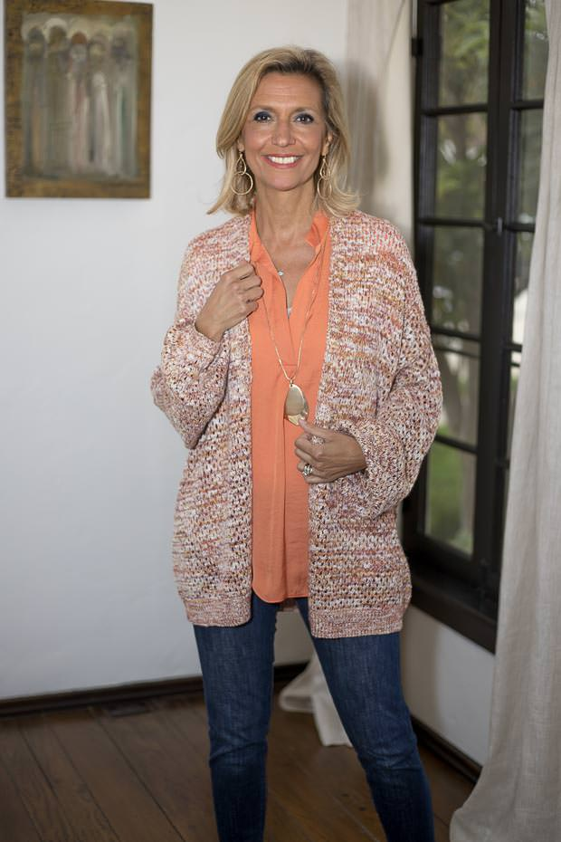 Multi Colored Yarn Open Front Cardigan for women with papaya short sleeve blouse