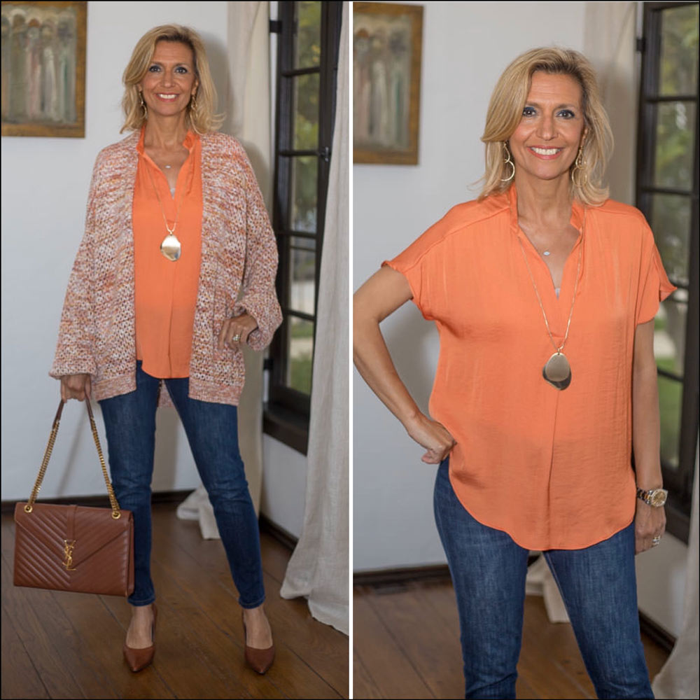 Multi Color Yarn Cardigan style with a papaya short sleeve blouse for women