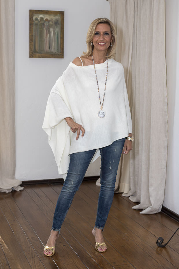poncho for women cream color