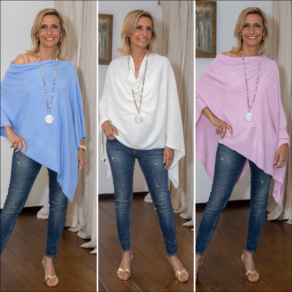 womens pull on ponchos in pastel colors for easter