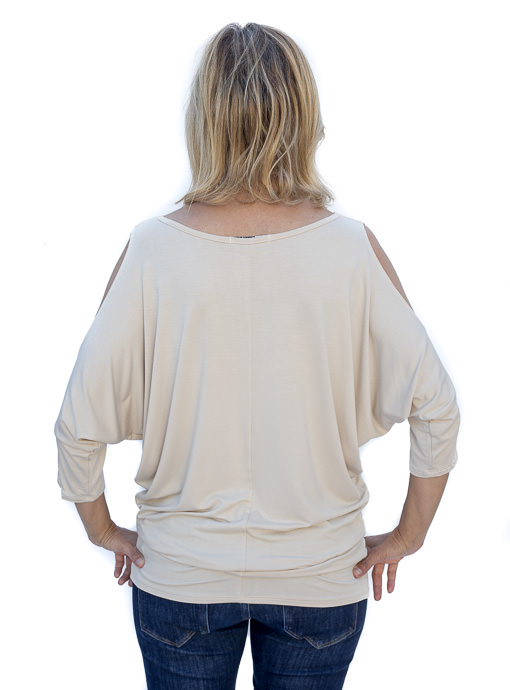 Sand Dolman Sleeve Cold Shoulder Top