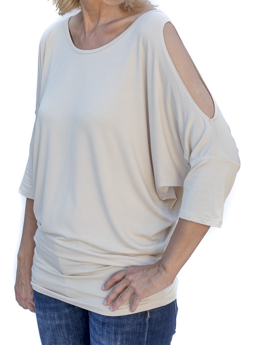 Sand Dolman Sleeve Cold Shoulder Casual Top
