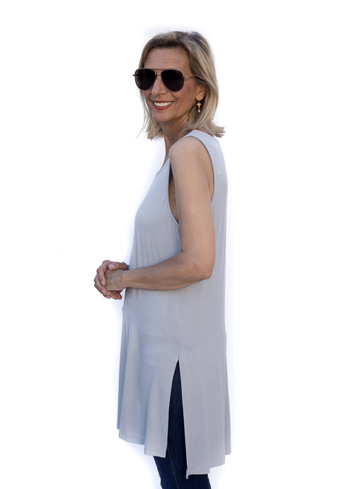 Silver Bamboo Side Slit Tank Tunic