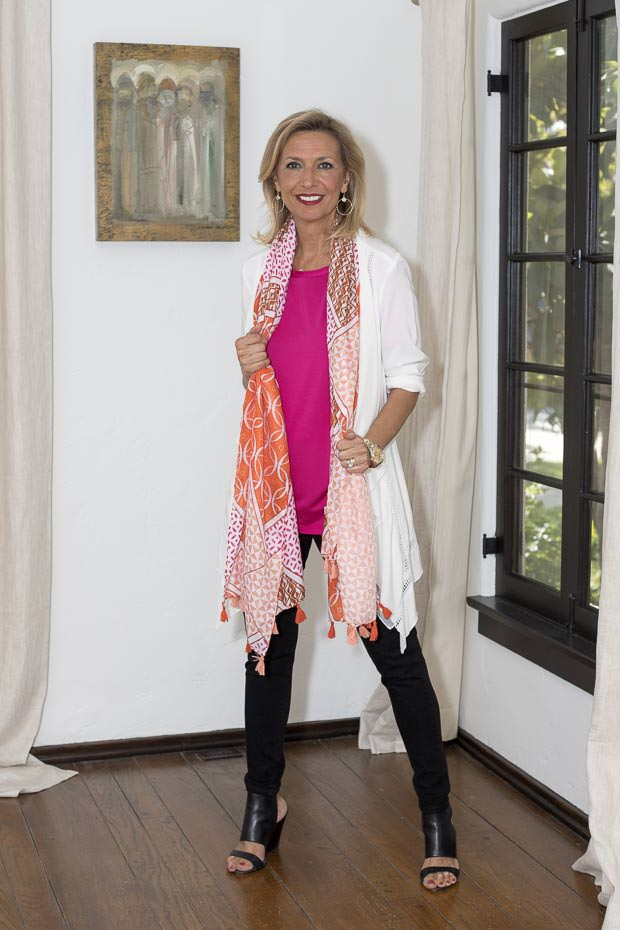 White Cascading Collar Jacket with colorful scarf For Women