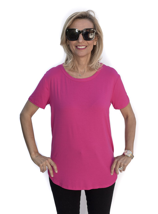 Womens Fuschia Round Neck Short Sleeve Top