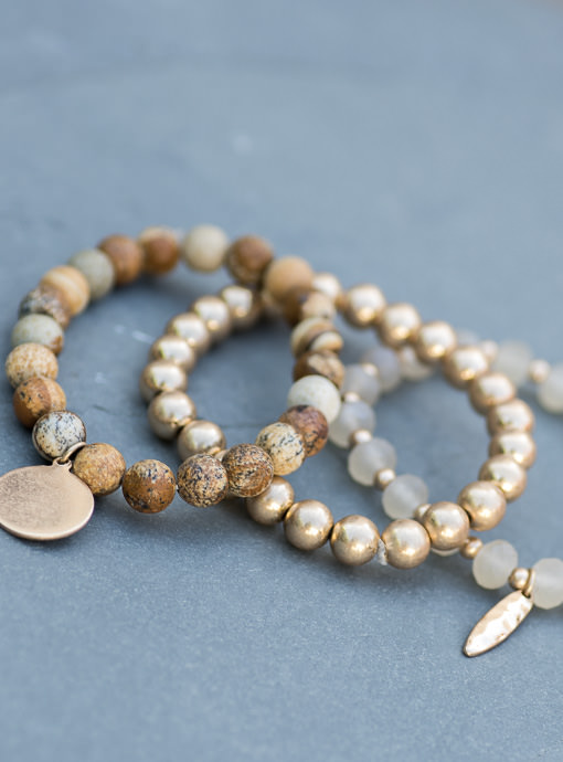 Gold Tan Cream Three Piece Bracelet Set