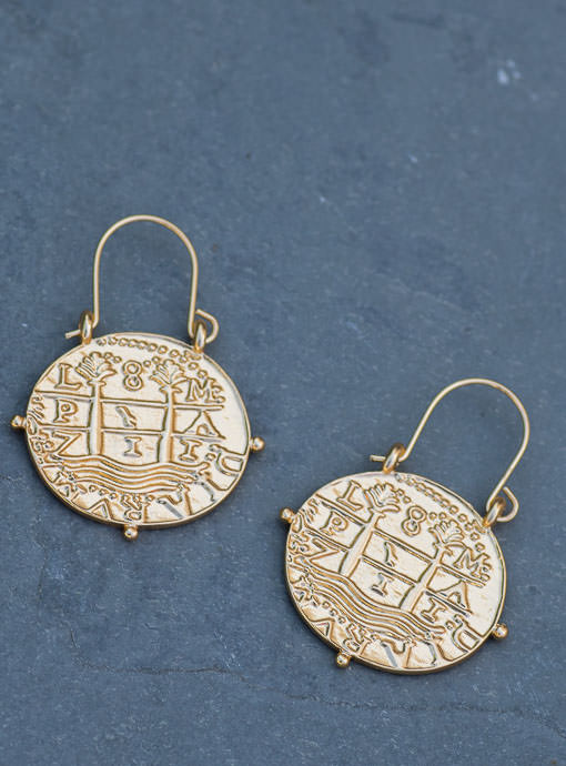 Gold Tone Ancient Coin Hook Earrings