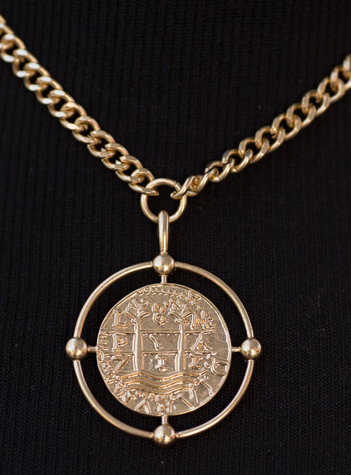Gold Tone Ancient Coin Pendant Necklace