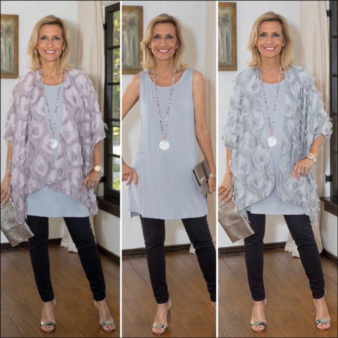 Womens Eyelash Kimonos in Silver and Mauve