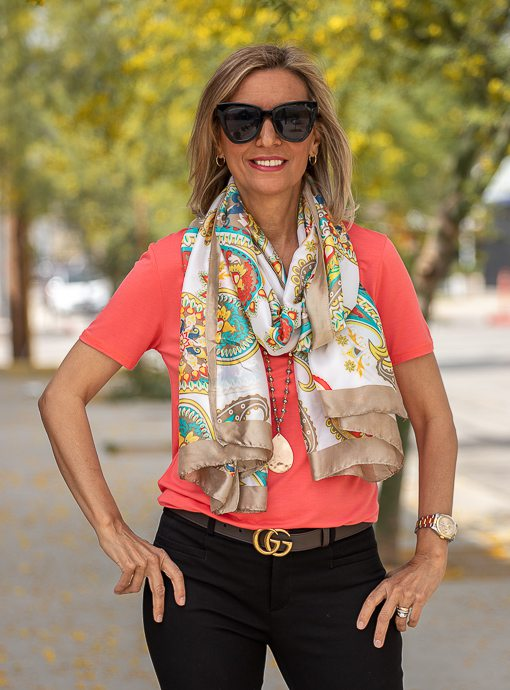 Taupe Multi Color Paisley Print Silky Scarf Shawl