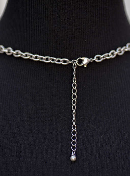 Silver Chain And Pearl Charm Necklace