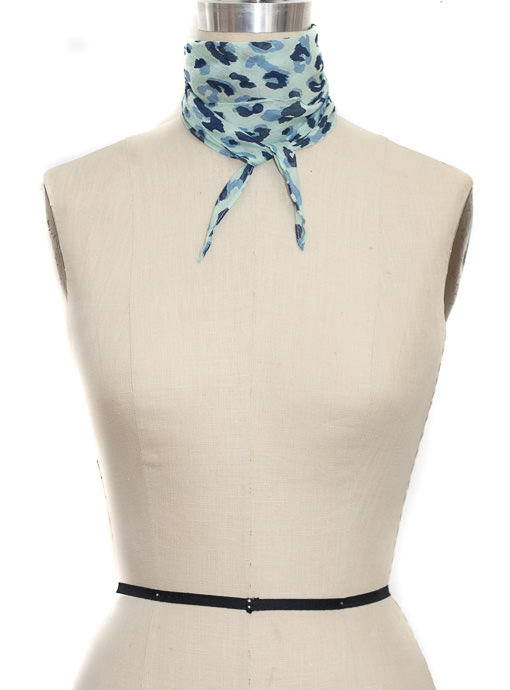 Blue Leopard Print Small Neck Tie