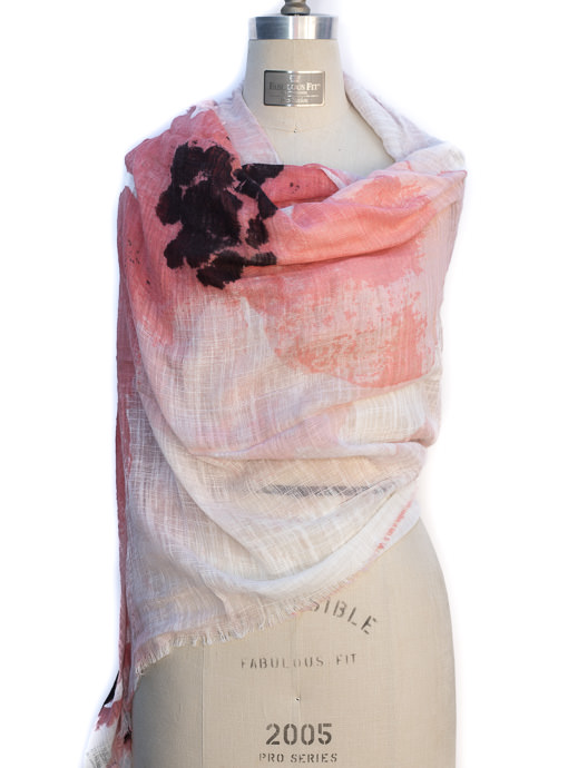 Coral Ivory Gauze Floral Abstract Print Scarf Shawl