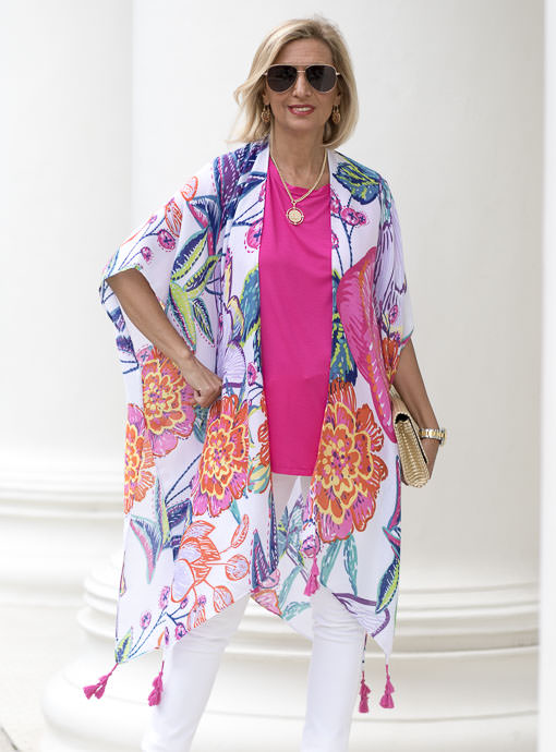 Colorful Big Floral Print Kimono With Tassels