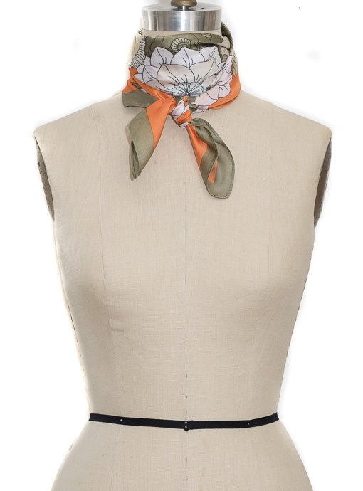 Olive Orange Floral Print Square Scarf