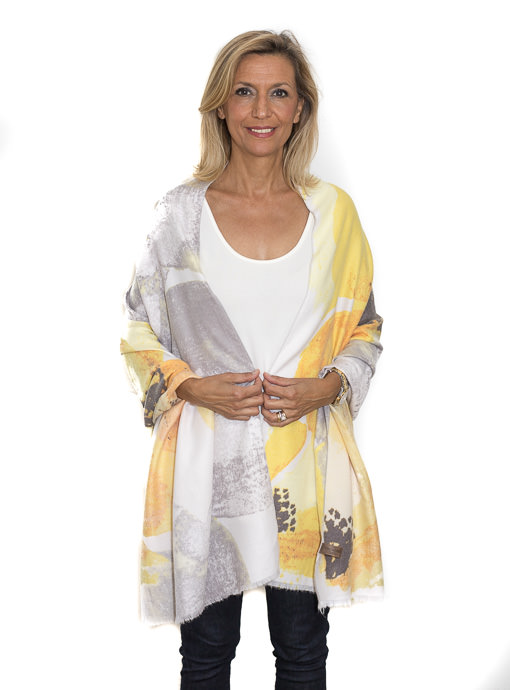 Cashmere Blend Yellow Floral Print Shawl Wrap