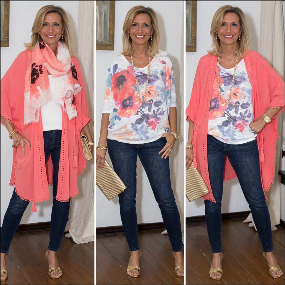women's coral Kimono for summer style with 2 tops