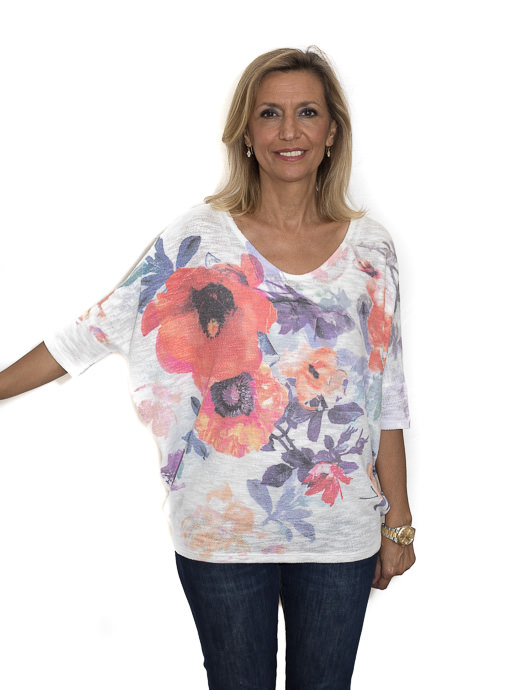 White Floral Print Dolman Sleeve Knit Top