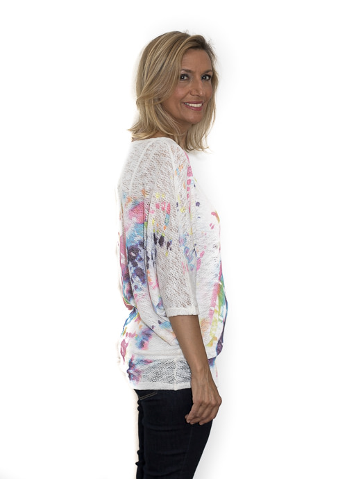 White Tie Dye Print Dolman Sleeve Knit Top