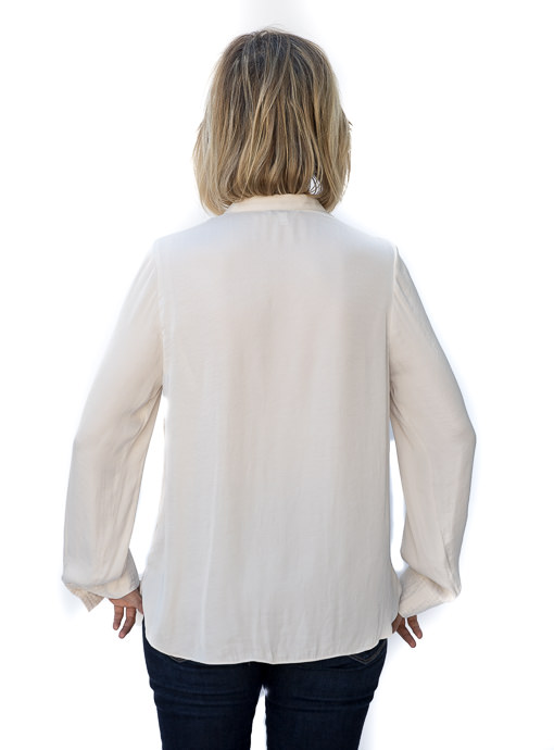Alabaster Stand Collar Long Sleeve Blouse
