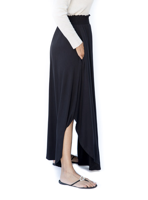 Black Rayon Jersey Knit Long Skirt