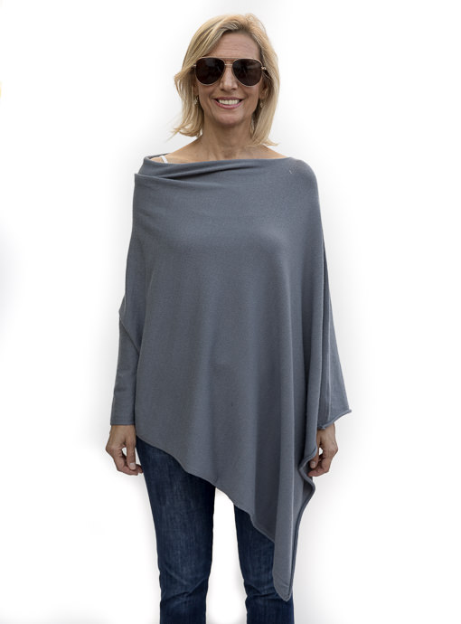 Blue Gray Pull On Poncho