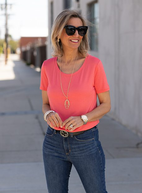 Coral Round Neck Short Sleeve Top