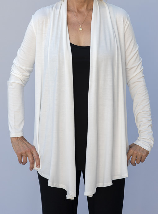 Ivory Drape Front Rayon Jersey Knit Casual Cardigan