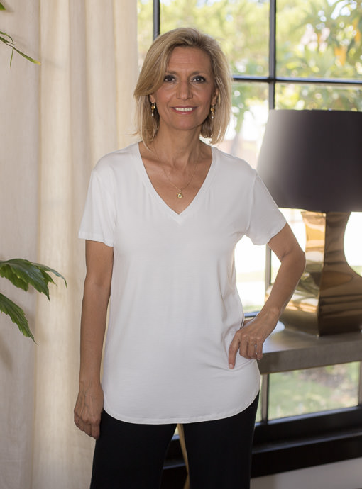 Ivory V Neck Short Sleeve T Shirt