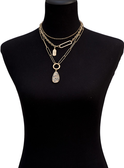 Three Layer Gold Chain Necklace With Pendant